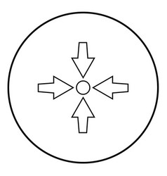 Four arrows point show to dot icon black color vector