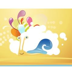 Funny snail on abstract background vector image
