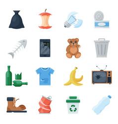 garbage set cartoon vector image