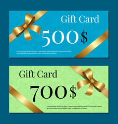 Gift cards on 700 500 set of posters gold ribbons vector