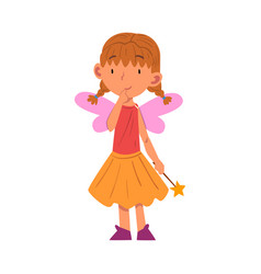 Girl wearing fairy costume standing with magic vector
