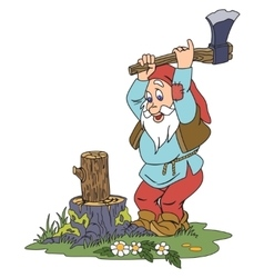 Gnome chopping wood vector