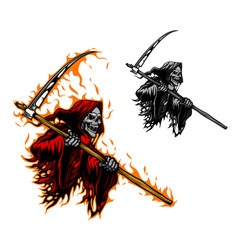 grim reaper tattoo scary death with scythe blade vector image