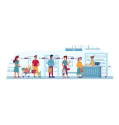 grocery store queue social distance coronavirus vector image