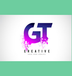 Gt g t purple letter logo design with liquid vector