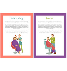 Hair styling and barber posters with text vector