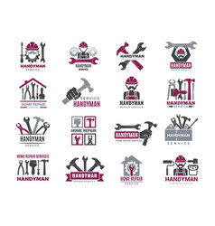Handyman badges builders and workers contractor vector