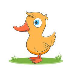 Happy cartoon duck vector
