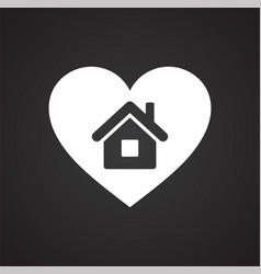 Heart home icon on black background for graphic vector