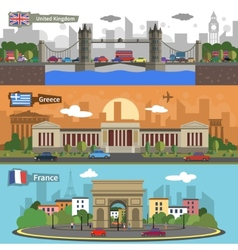 Historical landmarks skyline banners set vector
