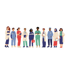 hospital team medical employees in uniform vector image
