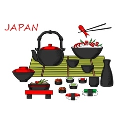Japanese seafood and drinks set vector image