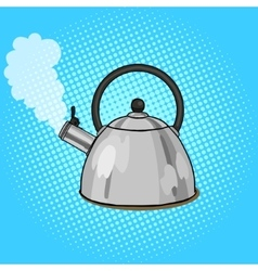Kettle boils with water pop art style vector image