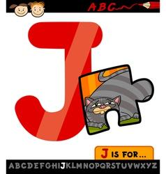 Letter j with jigsaw cartoon vector