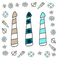 Lighthouse icon set layered vector