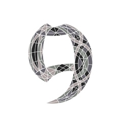 Low poly number 9 in gray mosaic polygon vector