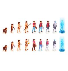 man and woman human evolution to digital cyborg vector image