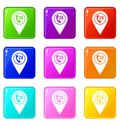 Map pointer with phone handset icons 9 set vector