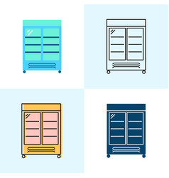 Merchandising refrigerator icon set in flat and vector