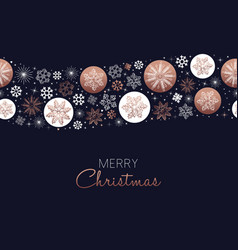 Merry christmas copper snowflake pattern card vector