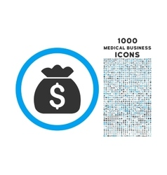 Money Bag Rounded Symbol With 1000 Icons vector image