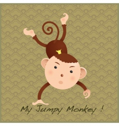 monkey on decorative card vector image