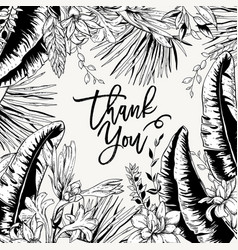 monochrome greeting card tropical leaves vector image