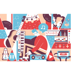 music background instruments musician vector image