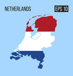 netherlands map border with flag eps10 vector image