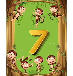 Number seven with 7 monkeys on the tree vector