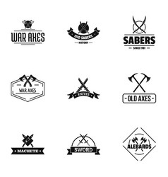 Old weapon logo set simple style vector