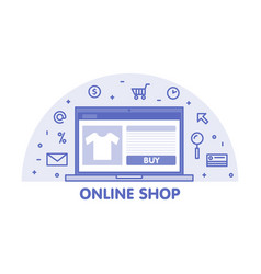 Online shop concept line laptop with web page vector