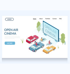 open air cinema website landing page design vector image