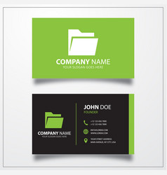 Open folder icon business card template vector