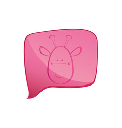 Pink square chat bubble with giraffe animal inside vector