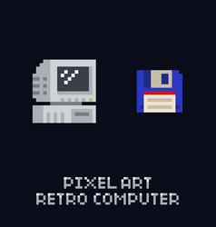 Pixel art retro computer and blue floppy diskette vector