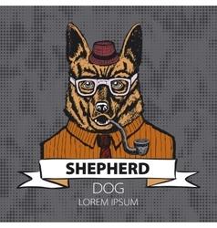 Portrait of German Shepherd Hand-drawn vector image