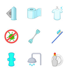 purity things icons set cartoon style vector image