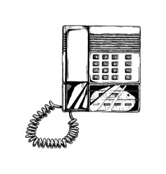 Push-button phone with answering machine vector