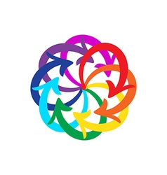 rainbow colors arrows circle diagram vector image