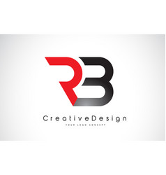 Red and black rb r b letter logo design creative vector