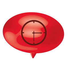 red bubble clock icon vector image