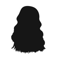 Red long backback hairstyle single icon in black vector