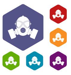 Respirator icons set hexagon vector