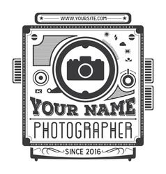 Retro vintage logotype of old camera vector image