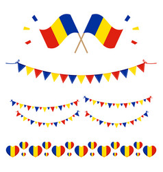 Romanian flags and design elements vector