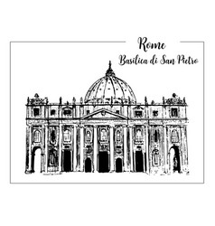 Rome cityscape with st peter cathedral italian vector