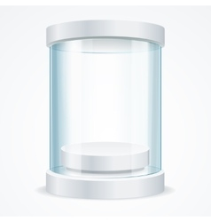 Round Empty Glass Showcase for Exhibit vector