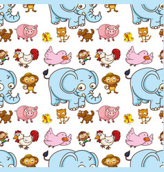 seamless pattern tile cartoon with elephant pig vector image