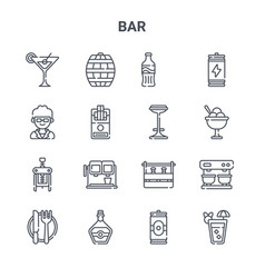 Set 16 bar concept line icons 64x64 thin vector